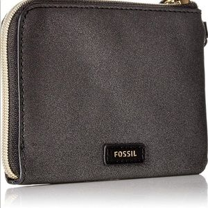 Fossil Keely Pewter Sparkle Wristlet Clutch Purse